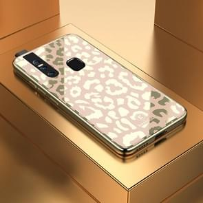 Leopard Pattern Electroplating Soft Frame Plexiglass Mirror Protective Case For Vivo  V15 / S1(Champagne Gold)
