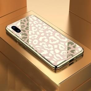 Leopard Pattern Electroplating Soft Frame Plexiglass Mirror Protective Case For Vivo  Z3 / Z3i(Champagne Gold)