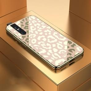 Leopard Pattern Electroplating Soft Frame Plexiglass Mirror Protective Case For Vivo  V15 Pro(Champagne Gold)