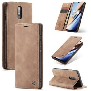 CaseMe-013 Multi-functional Retro Frosted Horizontal Flip Leather Case with Card Slot & Holder & Wallet For OnePlus 7(Brown)