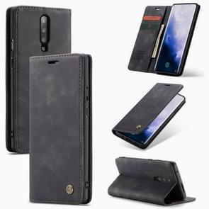 CaseMe-013 multi-functionele retro Frosted horizontale Flip lederen draagtas met kaartsleuf & houder & portemonnee voor OnePlus 7 Pro (zwart)