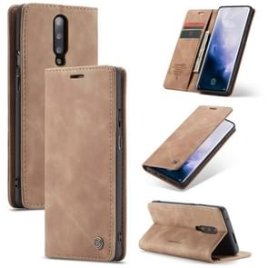 CaseMe-013 Multi-functional Retro Frosted Horizontal Flip Leather Case with Card Slot & Holder & Wallet For OnePlus 7 Pro(Brown)