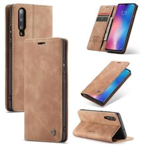CaseMe-013 Multi-functional Retro Frosted Horizontal Flip Leather Case with Card Slot & Holder & Wallet For Xiaomi Mi 9(Brown)
