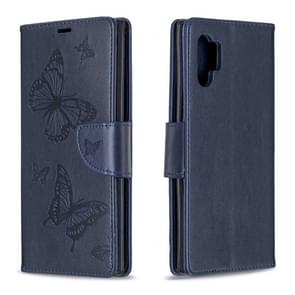 Two Butterflies Embossing Pattern Horizontal Flip Leather Case with Holder & Card Slot & Wallet & Lanyard for Galaxy Note10+(Dark Blue)