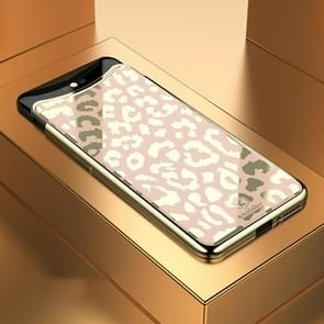 Leopard Pattern Electroplating Soft Frame Plexiglass Mirror Protective Case For OPPO Find X(Champagne Gold)
