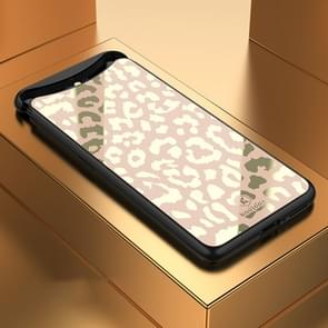 Leopard Pattern Electroplating Soft Frame Plexiglass Mirror Protective Case For OPPO Find X (Full Coverage)(Champagne Gold)