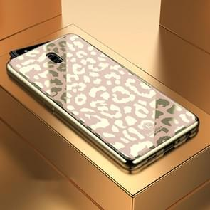 Leopard Pattern Electroplating Soft Frame Plexiglass Mirror Protective Case For OPPO Reon(Champagne Gold)