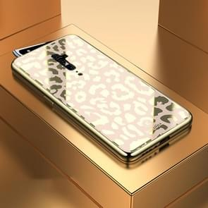 Leopard Pattern Electroplating Soft Frame Plexiglass Mirror Protective Case For OPPO Reon 10X Zoom(Champagne Gold)
