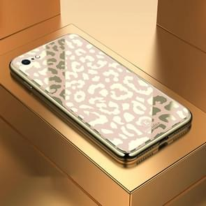 Leopard Pattern Electroplating Soft Frame Plexiglass Mirror Protective Case For iPhone 6  Plus & 6s Plus(Champagne Gold)