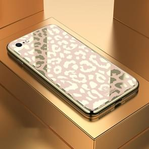 Leopard Pattern Electroplating Soft Frame Plexiglass Mirror Protective Case For iPhone 7 & 8(Champagne Gold)