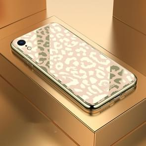 Leopard Pattern Electroplating Soft Frame Plexiglass Mirror Protective Case For iPhone XR(Champagne Gold)