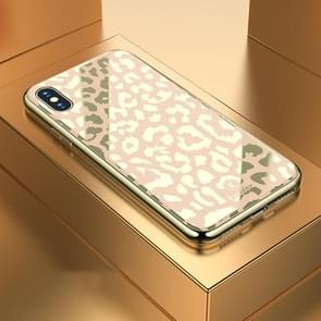 Leopard Pattern Electroplating Soft Frame Plexiglass Mirror Protective Case For iPhone XS Max(Champagne Gold)