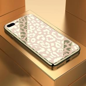 Leopard Pattern Electroplating Soft Frame Plexiglass Mirror Protective Case For  iPhone 7  Plus & 8 Plus(Champagne Gold)