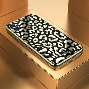 Leopard Pattern Electroplating Soft Frame Plexiglass Mirror Protective Case For iPhone X / XS(Wild Black)