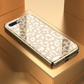 Leopard Pattern Electroplating Soft Frame Plexiglass Mirror Protective Case, For:For OPPO R15X /  K1(Champagne Gold)
