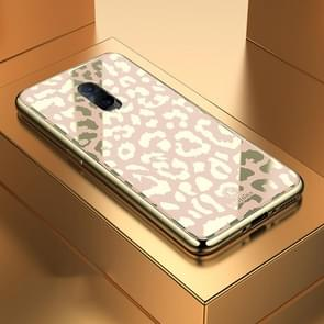 Leopard Pattern Electroplating Soft Frame Plexiglass Mirror Protective Case, For:For  OPPO R17(Champagne Gold)