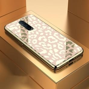 Leopard Pattern Electroplating Soft Frame Plexiglass Mirror Protective Case, For:For  OPPO R17 Pro(Champagne Gold)