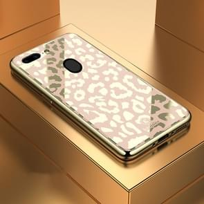 Leopard Pattern Electroplating Soft Frame Plexiglass Mirror Protective Case, For:For  OPPO R15(Champagne Gold)