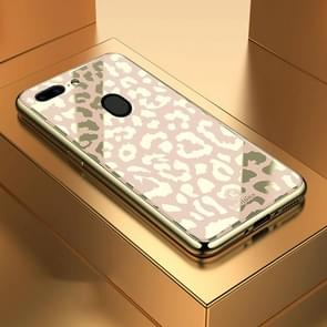 Leopard Pattern Electroplating Soft Frame Plexiglass Mirror Protective Case, For:For  OPPO R15 Dream Mirror Edition / R15 Pro(Champagne Gold)