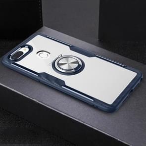Scratchproof TPU + acryl ring beugel beschermende case voor OPPO R15 Pro (marineblauw)