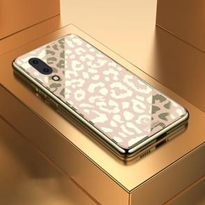 Leopard Pattern Electroplating Soft Frame Plexiglass Mirror Protective Case For Vivo X23 Symphony Edition(Champagne Gold)