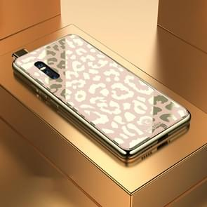 Leopard Pattern Electroplating Soft Frame Plexiglass Mirror Protective Case For Vivo X27(Champagne Gold)