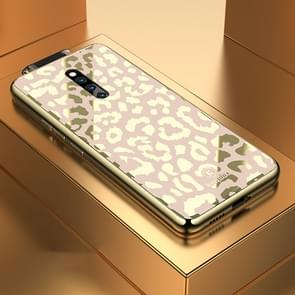 Leopard Pattern Electroplating Soft Frame Plexiglass Mirror Protective Case For Vivo X27 Pro(Champagne Gold)
