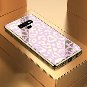 Leopard Pattern Electroplating Soft Frame Plexiglass Mirror Protective Case For Galaxy Note9(Girl Pink)