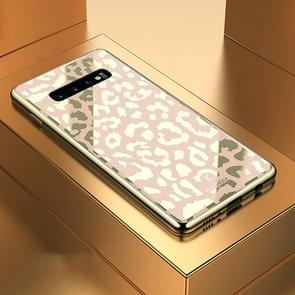 Leopard Pattern Electroplating Soft Frame Plexiglass Mirror Protective Case For Galaxy S10+(Champagne Gold)
