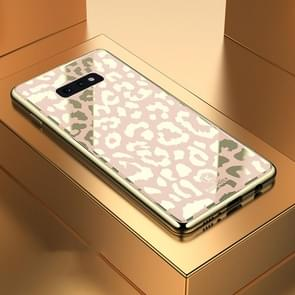 Leopard Pattern Electroplating Soft Frame Plexiglass Mirror Protective Case For Galaxy S10e(Champagne Gold)