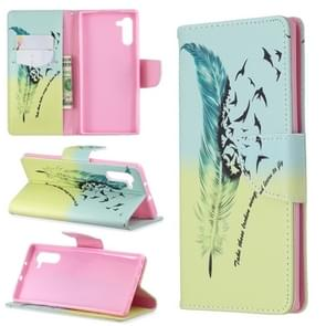 Colored Drawing Pattern Horizontal Flip Leather Case with Holder & Card Slots & Wallet(Feather Bird)