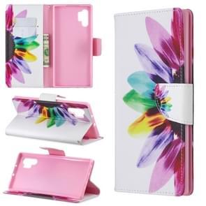 Gekleurde tekening patroon horizontale Flip lederen draagtas met houder & kaartsleuven & portemonnee (zonnebloem)