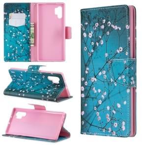 Gekleurde tekening patroon horizontale Flip lederen draagtas met houder & kaartsleuven & portemonnee (Plum Blossom)