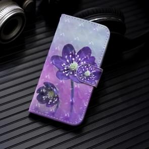 3D Painting Pattern Coloured Drawing Horizontal Flip PU Leather Case with Holder & Card Slots & Wallet For OnePlus 7 Pro(Purple Flower)