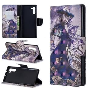 3D Colored Drawing Pattern Horizontal Flip Leather Case with Holder & Card Slots & Wallet For Galaxy Note10(Peacock)