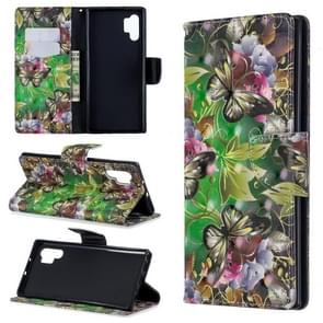 3D Colored Drawing Pattern Horizontal Flip Leather Case with Holder & Card Slots & Wallet For Galaxy Note10+(Green Butterfly)