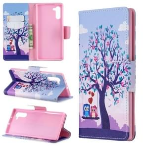 Colored Drawing Pattern Horizontal Flip Leather Case with Holder & Card Slots & Wallet For Galaxy Note10(Two Owls)