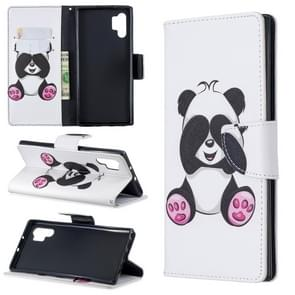 Colored Drawing Pattern Horizontal Flip Leather Case with Holder & Card Slots & Wallet For Galaxy Note10+(Shy Panda)