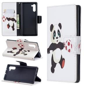 Colored Drawing Pattern Horizontal Flip Leather Case with Holder & Card Slots & Wallet For Galaxy Note10(Football and Panda)