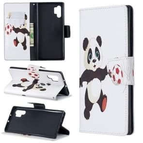 Colored Drawing Pattern Horizontal Flip Leather Case with Holder & Card Slots & Wallet For Galaxy Note10+(Football and Panda)