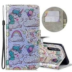 Dazzle Laser Coloured Drawing Horizontal Flip Leather Case with Holder & Card Slots & Wallet & Lanyard for Huawei P30(Rainbow Unicorn)