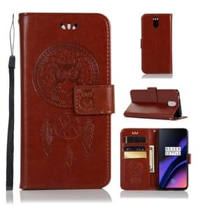 Wind Chime Owl Embossing Pattern Horizontal Flip Leather Case with Holder & Card Slots & Wallet For OnePlus 6T(Brown)