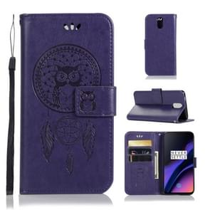 Wind Chime Owl Embossing Pattern Horizontal Flip Leather Case with Holder & Card Slots & Wallet For OnePlus 6(Purple)