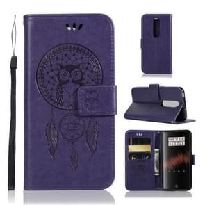 Wind Chime Owl Embossing Pattern Horizontal Flip Leather Case with Holder & Card Slots & Wallet For OnePlus 7(Purple)