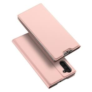 DUX DUCIS Skin Pro Series Horizontal Flip PU + TPU Leather Case with Holder & Card Slots for Galaxy Note 10(Rose Gold)