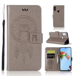 Wind Chime Owl Embossing Pattern Horizontal Flip Leather Case with Holder & Card Slots & Wallet For Huawei P30 Lite(Grey)