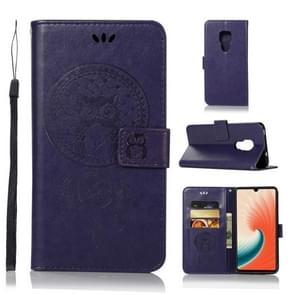 Wind Chime Owl Embossing Pattern Horizontal Flip Leather Case with Holder & Card Slots & Wallet For Huawei Mate 20(Purple)