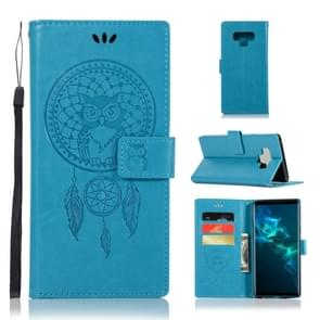 Wind Chime Owl Embossing Pattern Horizontal Flip Leather Case with Holder & Card Slots & Wallet For Galaxy Note9(Blue)
