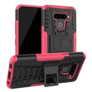 Tire Texture TPU + PC schokbestendig beschermhoes met houder voor LG q60 (roze)
