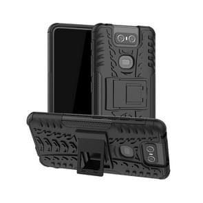 Tire Texture TPU+PC Shockproof Protective Case with Holder for Asus Zenfone 6 ZS630KL(Black)